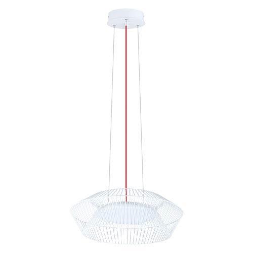 Piastre LED 23-Inch White One-Light Pendant