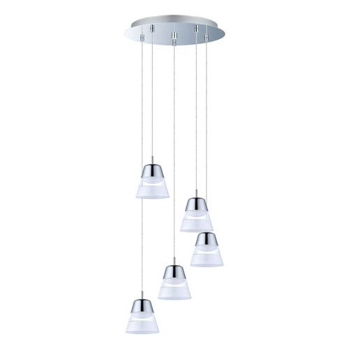 Pancento LED Chrome Five-Light Mini Pendant with A-Shape Shade