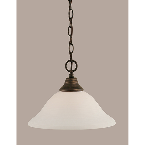 Any Bronze 12-Inch One-Light Pendant with White Linen Glass