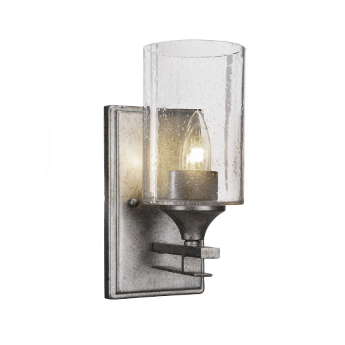 Uptowne Aged Silver Four-Inch One-Light Wall Sconce with Clear Bubble Glass