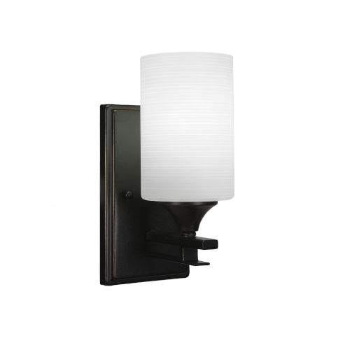 Uptowne Dark Granite Four-Inch One-Light Wall Sconce with White Matrix Glass