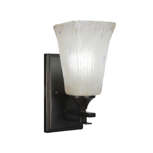 Uptowne Dark Granite Five-Inch One-Light Wall Sconce with Square Frosted Crystal Glass