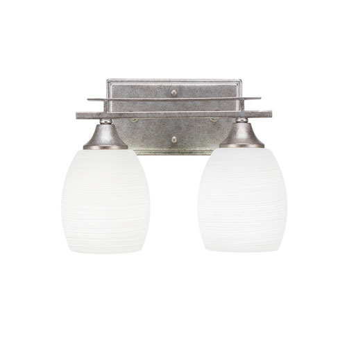 Uptowne Aged Silver 12-Inch Two-Light Bath Vanity with White Linen Glass