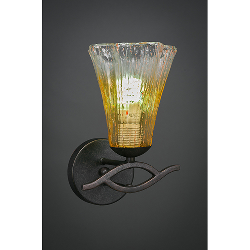 Revo Dark Granite 38-Inch One-Light Wall Sconce with Gold Champagne Crystal Glass