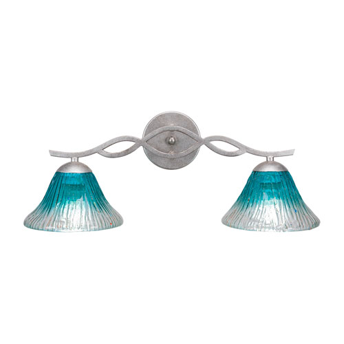 Revo Aged Silver Two-Light Bath Vanity with Teal Crystal Glass