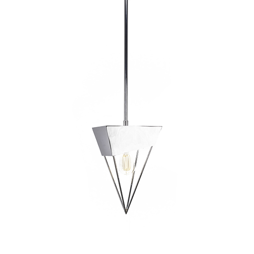 Neo Chrome Triangular 12-Inch One-Light Pendant