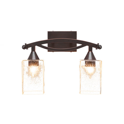 Toltec Lighting Bow Black Copper Two-Light Bath Vanity with Clear Bubble Glass