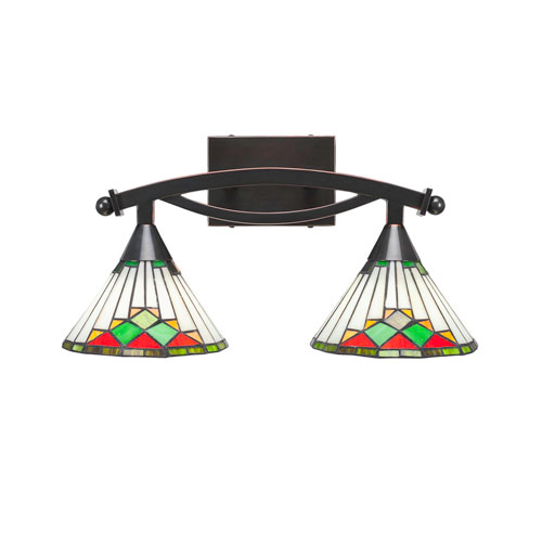 Toltec Lighting Bow Black Copper Two-Light Bath Vanity with Green Sunray Tiffany Glass