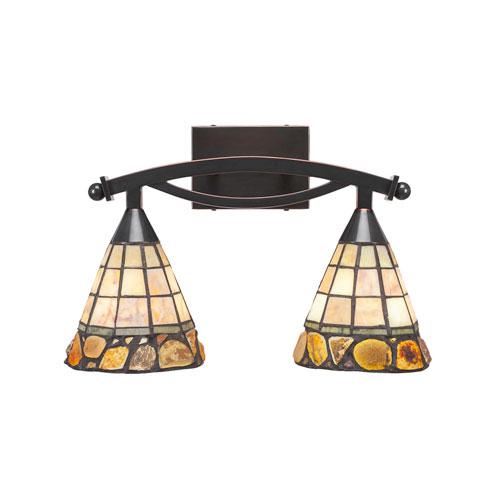 Toltec Lighting Bow Black Copper Two-Light Bath Vanity with Cobblestone Tiffany Glass