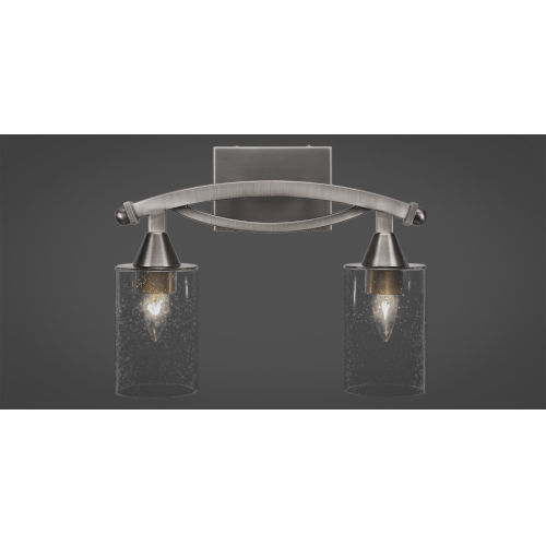 Bow Brushed Nickel Two-Light Bath Vanity with Clear Bubble Glass