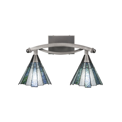 Bow Brushed Nickel Two-Light Bath Vanity with Sea Ice Tiffany Glass