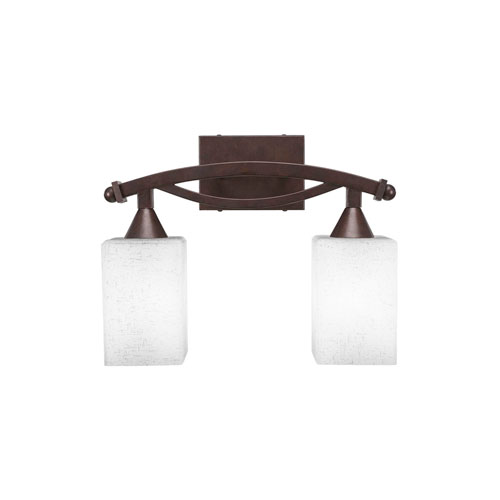 Toltec Lighting Bow Bronze Two-Light Bath Vanity with White Muslin Glass