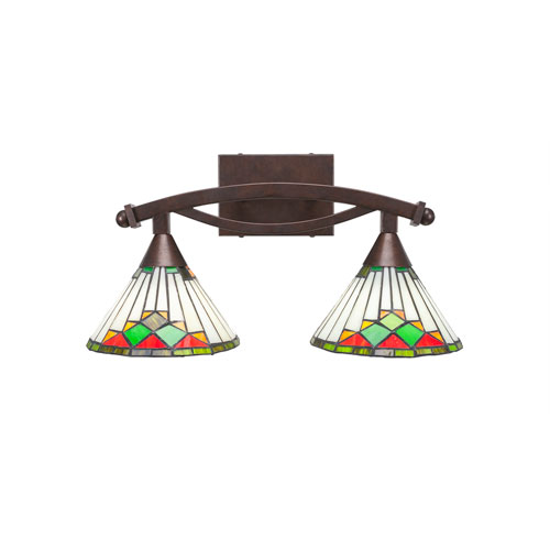 Toltec Lighting Bow Bronze Two-Light Bath Vanity with Green Sunray Tiffany Glass