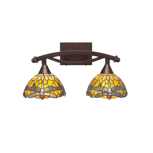 Toltec Lighting Bow Bronze Two-Light Bath Vanity with Amber Dragonfly Tiffany Glass