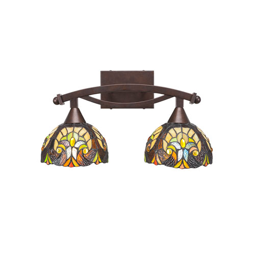 Toltec Lighting Bow Bronze Two-Light Bath Vanity with Ivory Cypress Tiffany Glass