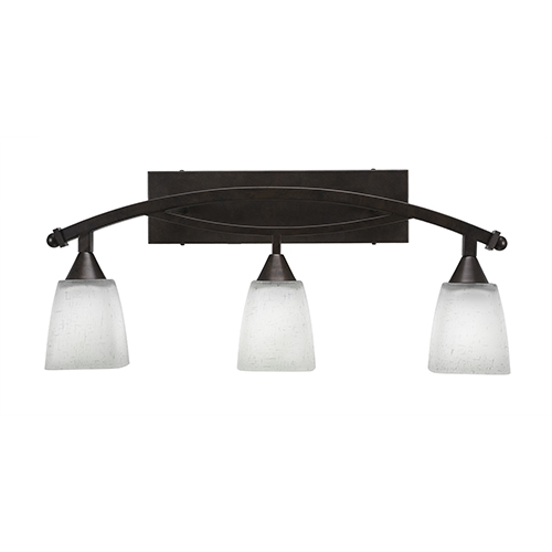 Bow Bronze 26-Inch Three-Light Bath Vanity with Clear Bell Bubble Glass