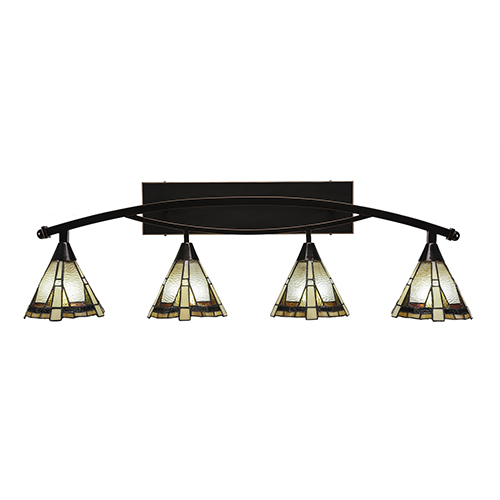 Bow Black Copper 39-Inch Four-Light Bath Vanity with Zion Tiffany
