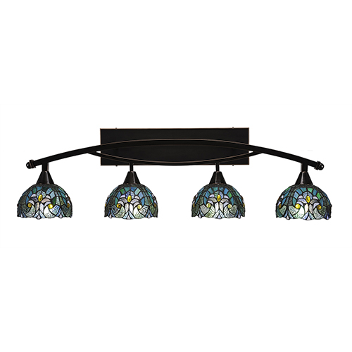 Toltec Lighting Bow Black Copper 39-Inch Four-Light Bath Vanity with Turquoise Cypress Tiffany