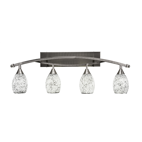 Bow Brushed Nickel 37-Inch Four-Light Bath Vanity with Black Fusion Glass