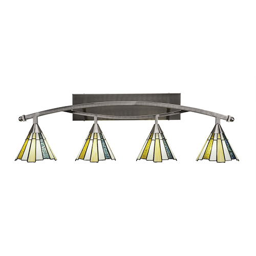 Bow Brushed Nickel 39-Inch Four-Light Bath Vanity with Sea Ice Tiffany