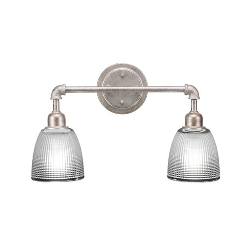 Toltec Lighting Vintage Aged Silver Two-Light Bath Vanity with Clear Glass