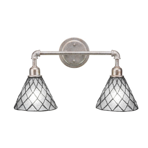 Toltec Lighting Vintage Aged Silver Two-Light Bath Vanity with Diamond Ice Tiffany Glass