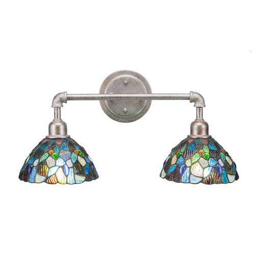 Vintage Aged Silver Two-Light Bath Vanity with Blue Mosaic Tiffany Glass