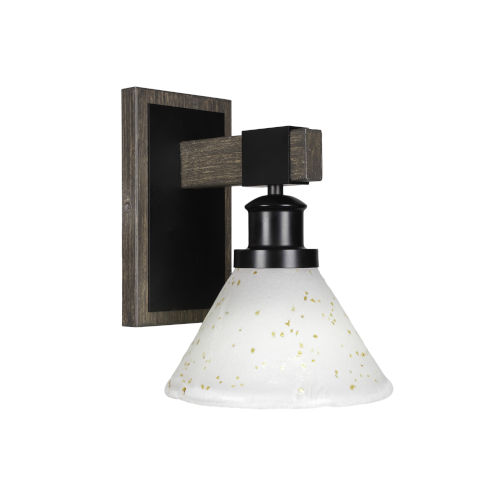 Tacoma Matte Black and Distressed Wood-lock Metal Seven-Inch One-Light Wall Sconce with Gold Ice Shade