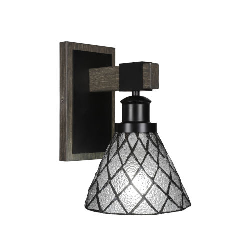 Tacoma Matte Black and Distressed Wood-lock Metal Seven-Inch One-Light Wall Sconce with Diamond Ice Art Glass Shade