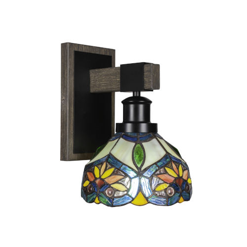 Tacoma Matte Black and Distressed Wood-lock Metal Seven-Inch One-Light Wall Sconce with Pavo Art Glass Shade