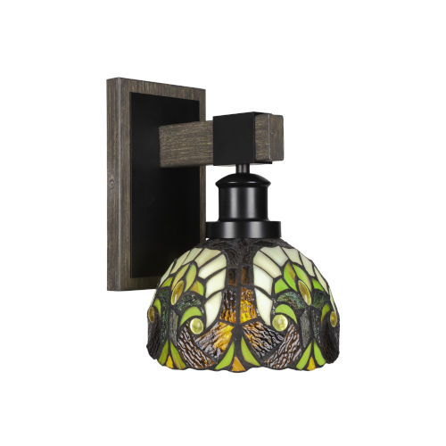 Tacoma Matte Black and Distressed Wood-lock Metal Seven-Inch One-Light Wall Sconce with Ivory Cypress Art Glass Shade