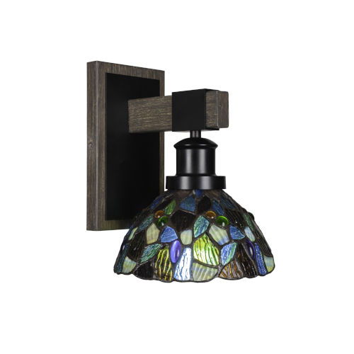 Tacoma Matte Black and Distressed Wood-lock Metal Seven-Inch One-Light Wall Sconce with Blue Mosaic Art Glass Shade