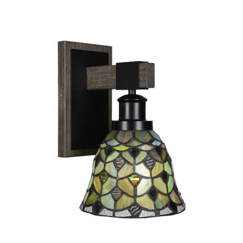 Tacoma Matte Black and Distressed Wood-lock Metal Seven-Inch One-Light Wall Sconce with Crescent Art Glass Shade