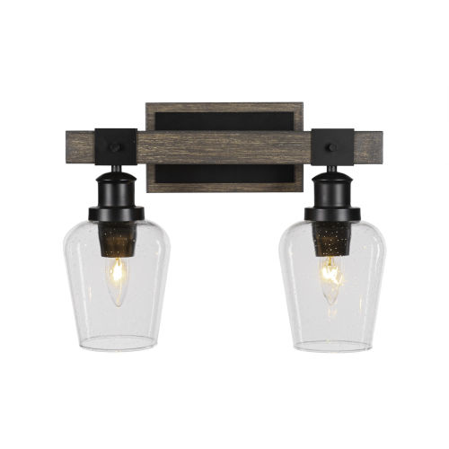 Tacoma Matte Black and Distressed Wood-lock Metal 16-Inch Two-Light Bath Light with Clear Bubble Shade