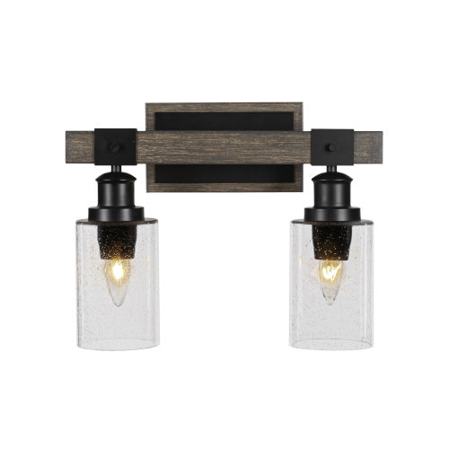 Tacoma Matte Black and Distressed Wood-lock Metal 12-Inch Two-Light Bath Light with Clear Bubble Shade