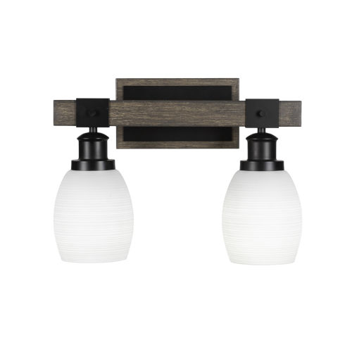 Tacoma Matte Black and Distressed Wood-lock Metal 16-Inch Two-Light Bath Light with White Matrix Shade