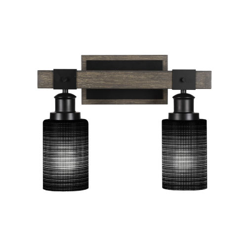 Tacoma Matte Black and Distressed Wood-lock Metal 15-Inch Two-Light Bath Light with Black Matrix Shade