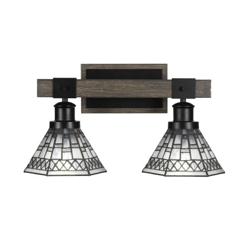 Tacoma Matte Black and Distressed Wood-lock Metal 18-Inch Two-Light Bath Light with Pewter Art Glass Shade