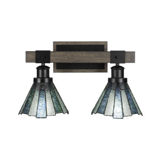 Tacoma Matte Black and Distressed Wood-lock Metal 17-Inch Two-Light Bath Light with Sea Ice Art Glass Shade