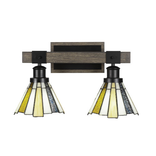 Tacoma Matte Black and Distressed Wood-lock Metal 17-Inch Two-Light Bath Light with Sequoia Art Glass Shade