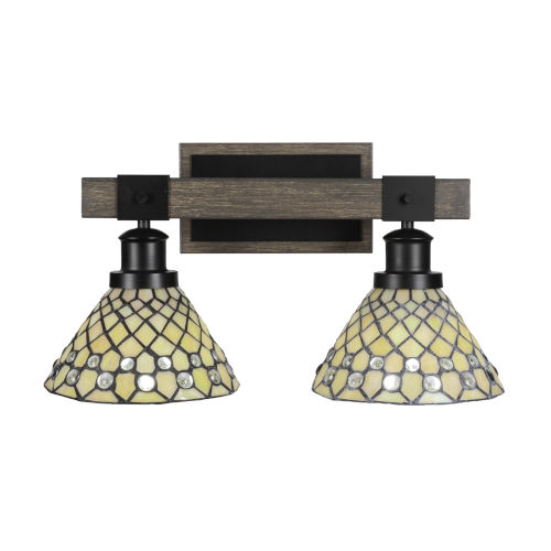 Tacoma Matte Black and Distressed Wood-lock Metal 18-Inch Two-Light Bath Light with Starlight Art Glass Shade