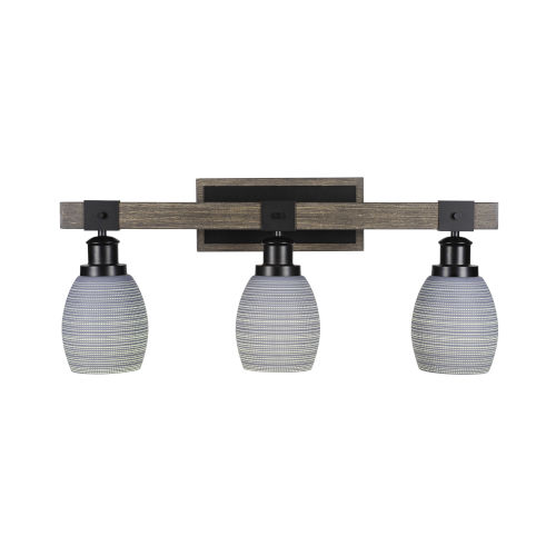 Tacoma Matte Black and Distressed Wood-lock Metal 11-Inch Three-Light Bath Light with Gray Matrix Shade