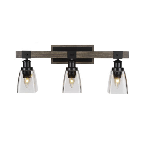 Tacoma Matte Black and Distressed Wood-lock Metal 11-Inch Three-Light Bath Light with Clear Bubble Shade
