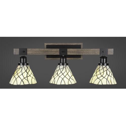 Tacoma Matte Black and Distressed Wood-lock Metal 27-Inch Three-Light Bath Light with Sandhill Art Glass Shade