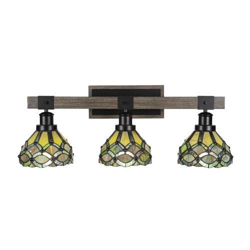 Tacoma Matte Black and Distressed Wood-lock Metal 28-Inch Three-Light Bath Light with Grand Merlot Art Glass Shade