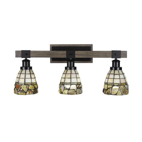 Tacoma Matte Black and Distressed Wood-lock Metal 26-Inch Three-Light Bath Light with Cobblestone Art Glass Shade