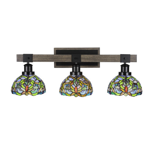 Tacoma Matte Black and Distressed Wood-lock Metal 27-Inch Three-Light Bath Light with Kaleidoscope Art Glass Shade