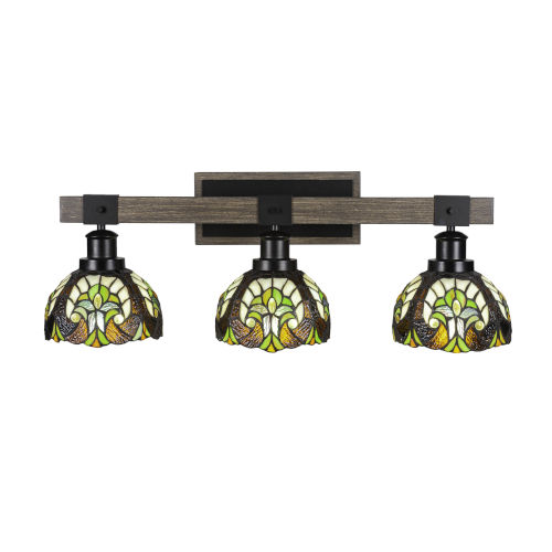 Tacoma Matte Black and Distressed Wood-lock Metal 27-Inch Three-Light Bath Light with Ivory Cypress Art Glass Shade