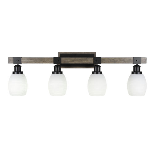 Tacoma Matte Black and Distressed Wood-lock Metal 11-Inch Four-Light Bath Light with White Matrix Shade