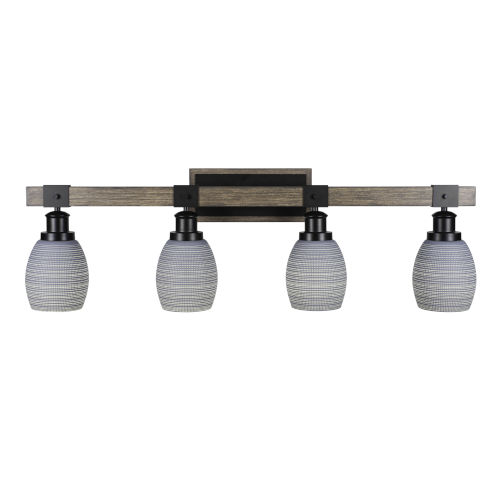Tacoma Matte Black and Distressed Wood-lock Metal 11-Inch Four-Light Bath Light with Gray Matrix Shade